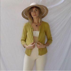 Vintage Chartreuse Cotton Cardigan